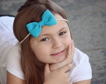 Turquoise Bow Headband, Turquoise Nylon Headband, Turquoise Bow Headband, Turquoise Headband, Baby Nylon Headband, Newborn Bow Headband