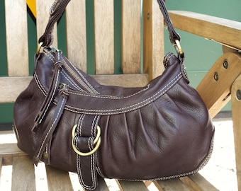 Vintage brown leather hobo bag, Ted Baker vintage leather satchel purse.  Retro Ted Baker leather hobo satchel bag / purse