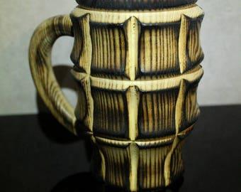 Burned effect wooden beer mug