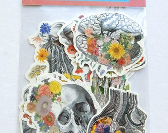 Human anatomy with flowers set, stickers collection , laptop stickers, Decal sticker, Medical student  Mac Book decals STC019