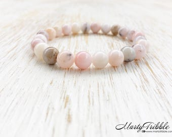Pink Opal Bracelet, Gemstone Bracelet, Boho Jewelry, Healing Crystal Jewelry, Mala Bracelet, Opal Jewelry, Stone Bracelet Stackable Bracelet