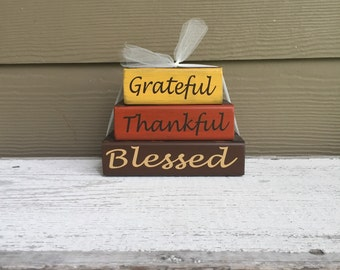 Thankful/Thanksgiving Theme Home Decor Wood Block Stacks/Stacker - Grateful, Thankful, Blessed - {Happy Thanksgiving, Autumn, Fall}
