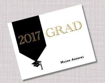 Custom Gold & Black Tassel Graduation Thank You Note Cards