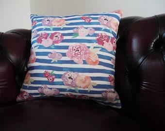 Floral Striped Watercolour Cushion.