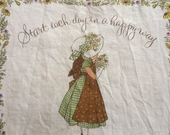 "Vintage Holly Hobbie 1976 Calendar Towel, 1976 Calendar, ""Start Each Day"", Garden Decor, Shabby Chic"