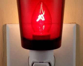 Ruby Red Glass Glass  Votive  Cup Custom  Night Light