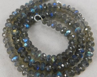"""16"""" Natural Madagascar Amazing Blue Fire Labradorite Faceted Roundels Shape Semi Precious Beads 5 mm. H20-06"""
