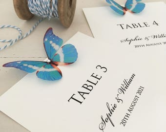 Blue Butterfly Wedding Table Numbers, Wedding Table Names, Table Cards, Wedding Tables, Party Tables Numbers, Table Numbers, Table Names