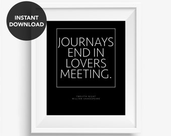Shakespeare Quote Twelfth Night Literary Print Romantic Quote Black And White Book Quote Poster Download Printable Art Literature Book Lover