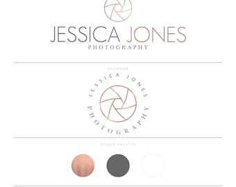 Rose Gold Logo Photography Logo Photography Watermark Camera Logo Photographer Logo Shutter Logo Wedding Photographer Branding Package