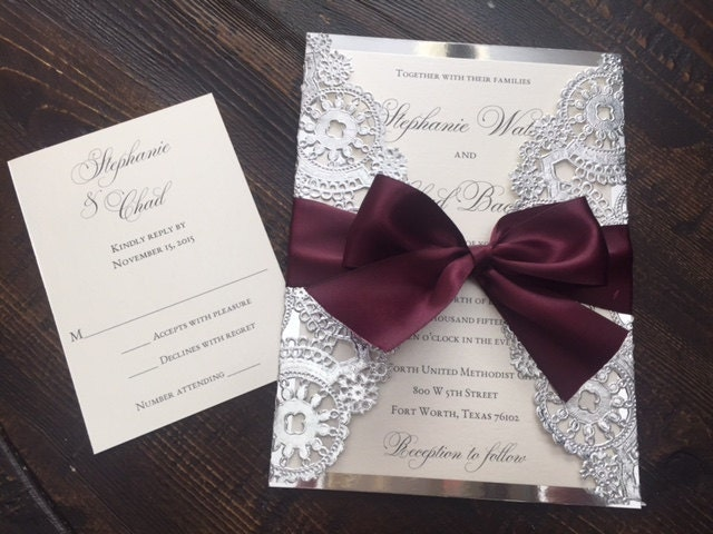 Wedding Invitations With Purple Ribbon: SAMPLE Metallic Doilies Wedding Invitation Suite With Ribbon