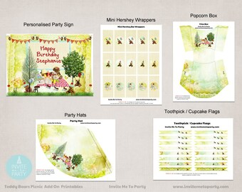 Teddy Bear's Picnic  Party Decoration Printables Add On