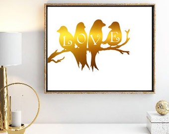Feathered Love Digital Art Printable