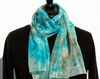 Turquoise Blue Hand Dyed Silk Scarf - Bright SS18