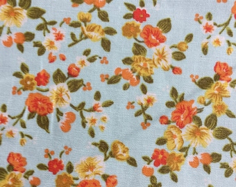 Very pretty duck egg blue, orange, yellow floral  fabric - Rose and Hubble  100% cotton poplin fabric UK