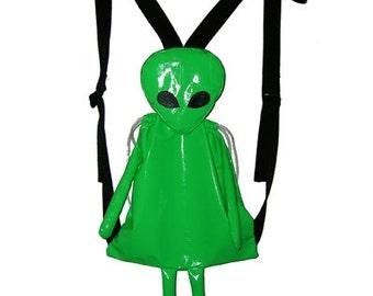 Handmade Pvc Green/Silver Metallic Alien Backpack Clubkids Cyber Style