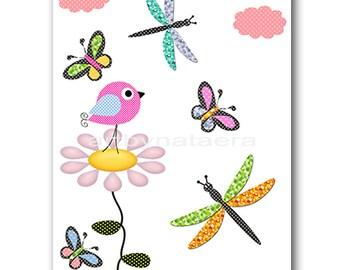 Birds Nursery Print Digital file Children Art Kids Wall Art Baby Girl Room Decor Baby Girl Nursery Art 8x10 11X14 INSTANT DOWNLOAD rose