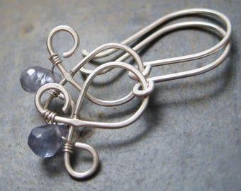 Iolite Fleur De Lis Earrings - Sterling Silver Tear Drop Dangles