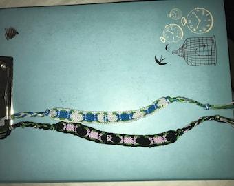 Triple Moon Goddess Woven Friendship Bracelet Customizable