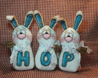 Going to the Bunny Hop Pattern #259 - Primitive Doll Pattern - Easter - Spring - Bunny - Rabbit - Hop - Skip - Jump - Whimsical