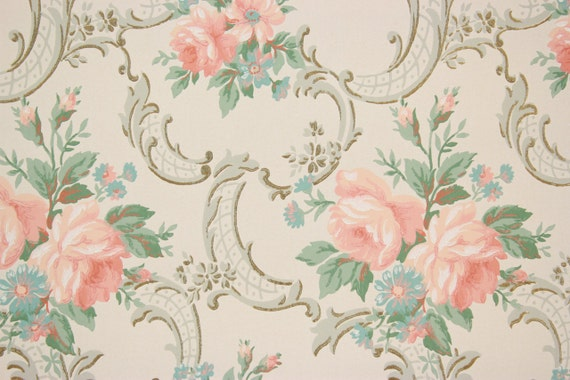 1940s Vintage Wallpaper Pink Roses Aqua Flowers On White By The Yard From RosiesWallpaper Etsy Studio