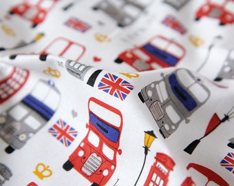 London bus pattern / 20s Cotton fabric