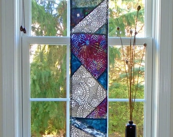 Geometric Abstract ~ Fiber Art Batik Pojagi Patchwork Window Treatment~Stained Glass-Look ~ sidelight curtain