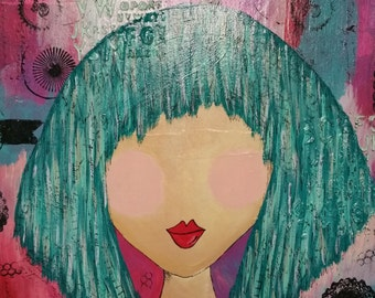 "Original Mixed Media on Canvas- Home Decor Artwork - ""Funky Girl"""
