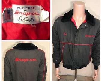 Vintage Snap-On Tools jacket coat // Snap-on by scharpf's rare coat // work uniform employee jacket // 70s 80s // made in usa // fur collar