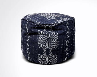 "Round Ikat Pouf Ottoman, Black and White. Ethnic, Boho Pouf, Floor Cushion. Handwoven in Indonesia. 20""W x  13.5""H"