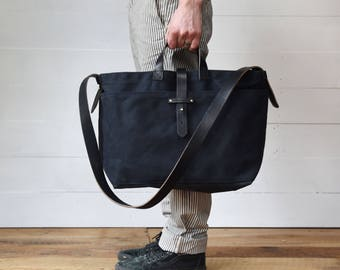 Large All Black Waxed Canvas Tote Bag, Crossbody Bag, Diaper Bag, Handbag, Purse, Gift for Woman, Man Gift, Anniversary Gift, Coal Tote
