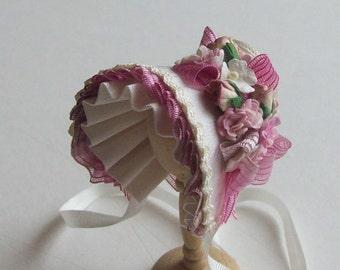Handmade 1/12th scale dollshouse ivory silk bonnet