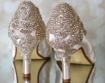 Wedding Shoes, Champagne Wedding Shoes, Vintage Wedding Shoes, Crystal Wedding Shoes, Crystal Applique Shoes, Custom Wedding Shoes, Bridal