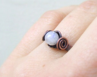 Rainbow moonstone ring, healing stone jewelry, natural fertility gemstone ring gift for women