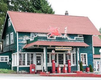 Vintage Gas Station image, Nostalgic Photo,