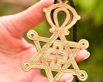 Big Messianic Cross Star of David Pendant Necklace