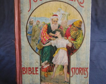 Young Folks' Bible Stories, Children's Book Inscribed in 1917, M.A. Donohue & Co. Chicago, Illustrated Engravings, Book Gift