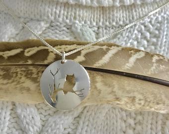 Owl Moon Sterling Silver Pendant  Handmade