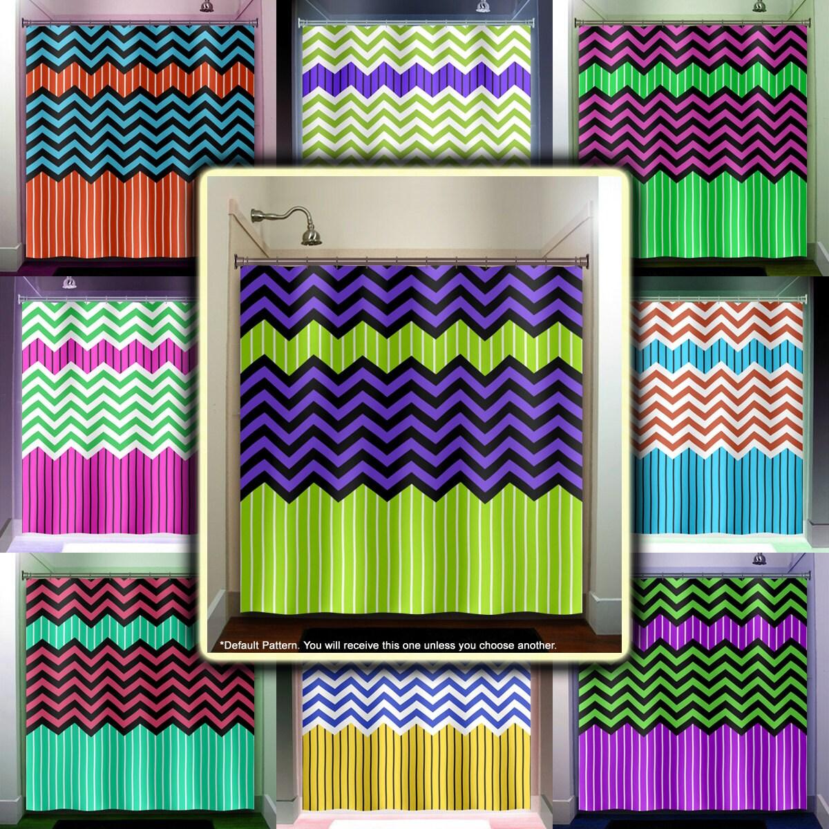 Ganma Green Chevron Shower Curtain Polyester Fabric Bathroom 66x72 ...