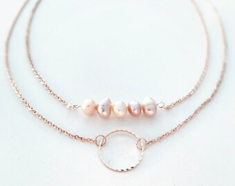 Necklace rose gold plated beads