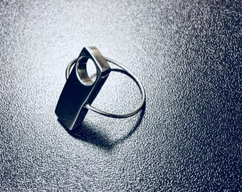 Silver Statement Ring with a Whole