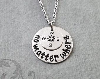 No Matter Where Necklace SMALL Charm Necklace Compass Necklace Long Distance Relationship Couples Jewelry Best Friend Jewelry Gift College