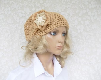 very special offer, Beanie,  slouchy crochet hat with a big 3D-Flower, one size, unique