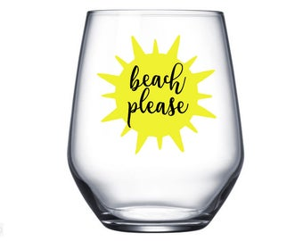 Beach Please Wine Glass, Spring Break, Stemless Wine Glass, Beach Gift, Beach Wine Glass, Beach Cup, Bachelorette Party Gifts, Beach Wedding