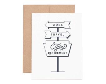 Travel Retirement Letterpress Greeting Card - Retirement Cards | Greeting Cards | Letterpress Cards