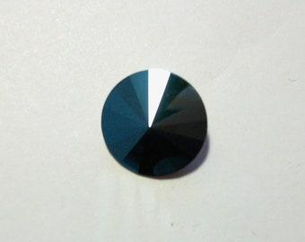 1 cabochon Swarovski 1122 Rivoli 14 mm - blue metal