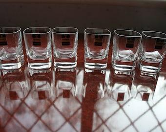 """6 Gleneagles Crystal Shot Glasses in Pristine Condition 2.1/2"""" tall"""