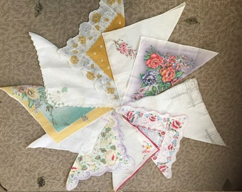 Collection of 10 vintage hankies / handkerchiefs in assorted colors, styles, and sizes. #934