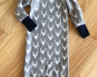 Grey Mini Buck Baby Gown with Navy Accents