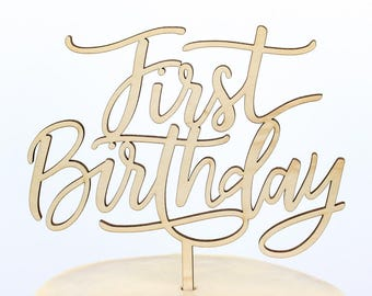 Calligraphy First Birthday Cake Topper, Smash Cake Topper, One Cake Top, Personalized Gold Silver, Custom Cake Topper, Birthday Cake Topper